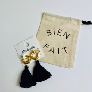 Madewell Lantern Tassel Earrings Navy Blue